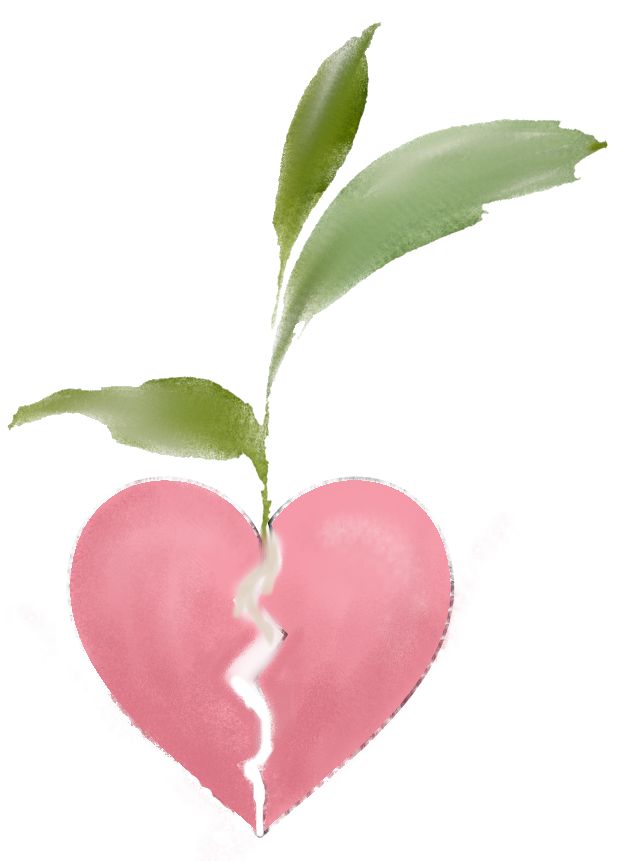 Broken heart with growth, plant, heart, pink and green, hope